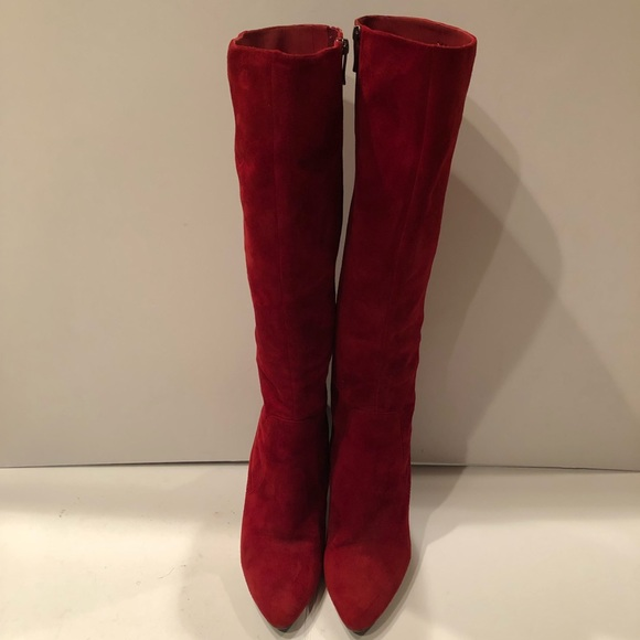 Via Spiga Shoes   Red Suede Knee Boots